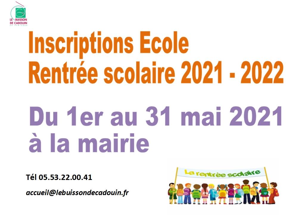 Inscriptions école 2021-2022