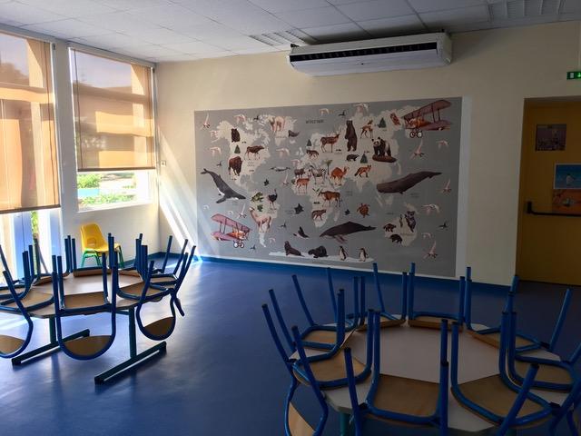 Fresque à la cantine maternelle